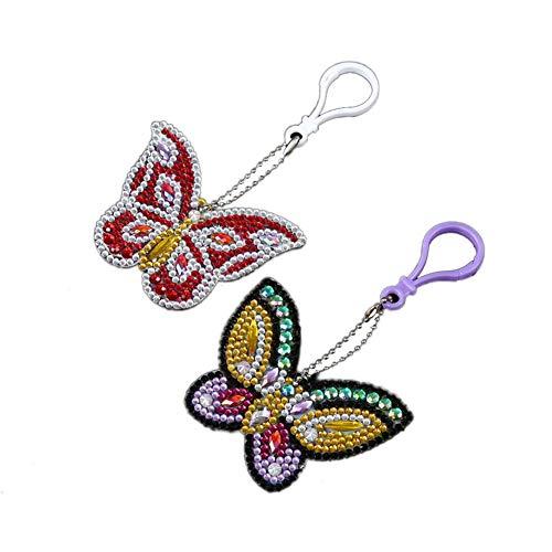 TLfyajJ DIY Schmetterling Diamant Malerei Schlüsselanhänger Ring Anhänger Strass Tasche Decor 2 Stücke (Fondant Weiße Antike)