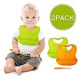 BALFER Lätzchen baby wasserdicht aus Silikon mit einfacher Reinigung, Faltbar Weiche Fütterung Lätzchen, die Flecken fernhalten, Satz aus 2 Farben (Orange & Grün) mit 1 Silikon Baby Löffel