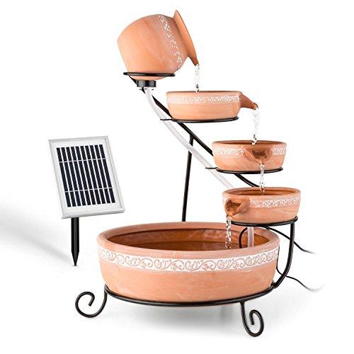 Blumfeldt Empoli fontana da giardino a cascata (terracotta, 5 Livelli, 200 l/h, alimentazione a pannello solare o batteria, corona LED con 4 luci)