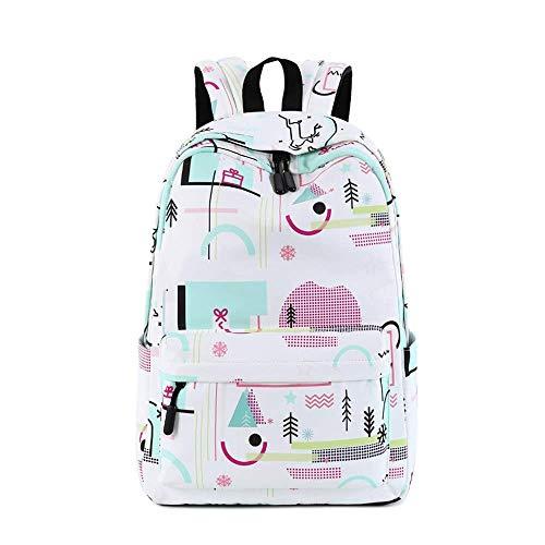 Lifestyle-blumen-kissen (BHDYHM Schulrucksack Lifestyle Reisetasche for Frauen Leichter College Rucksack mit Laptopfach Schultasche (Color : White, Size : S))