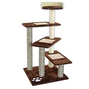 dibea kb00801 kratzbaum h he 100 cm kletterbaum f r katzen braun beige haustier. Black Bedroom Furniture Sets. Home Design Ideas