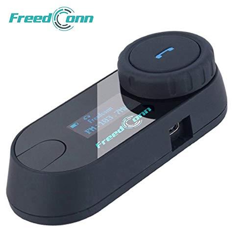 Freedconn T-COMSC Auriculares Intercomunicador Bluetooth de Casco de Motocicleta Moto Intercom Headset 800M, FM Altavoz Hi-Fi Sintonizador 3 Los Jinetes con Pantalla LCD