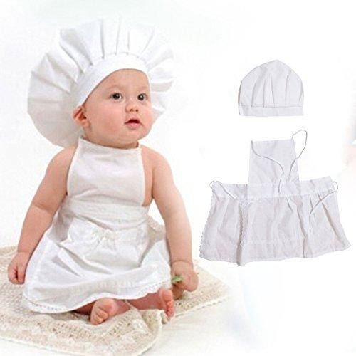 Hykis - Nette Neugeborene Fotografie Props Kleinkind Fotografie Kleidung Wei? Chef-Hut-Baby-Foto schie?en Kost¨¹m Fotografia Kleidung schie?en