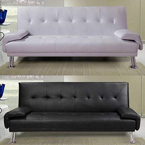 Bagno Italia Divano Letto sofà 194x110x40 in Ecopelle Nero o Bianco reclinabile Design Moderno per Sala Soggiorno