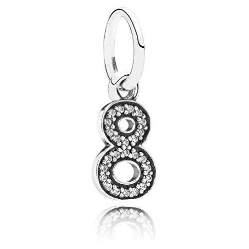 Pandora Damen-Charm 925 Silber Zirkonia weiß - 791346CZ (Pandora Charm Zahl)