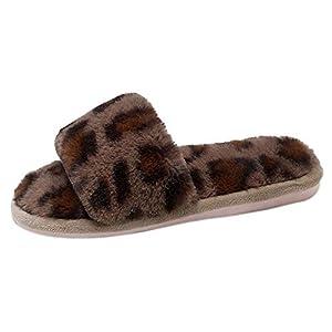 Lucky Mall Frauen Bequeme Warme Flache Schuhe, Leopard Pelz Hausschuhe Schuh