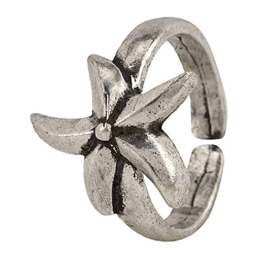 Teenager Niedlich Hippie Kostüm - Efulgenz Boho Vintage Gypsy Indian Silber Oxidized Flower Motiv Cocktail Ring Schmuck