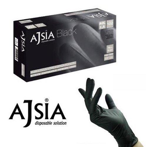 ajsia Handschuhe Nitril schwarz black ohne Staub für Friseur Packung 1000Stück (10x 100), L, 100