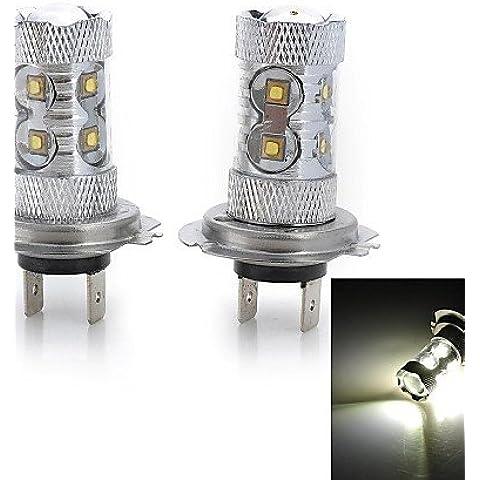 Alta potencia ZSQ H7/H3/H1/H4/H11 50W 3000LM luz blanca fría 10-Cree LED Faro antiniebla/coche(12V/2pcs) , Cool white-H3 #2775