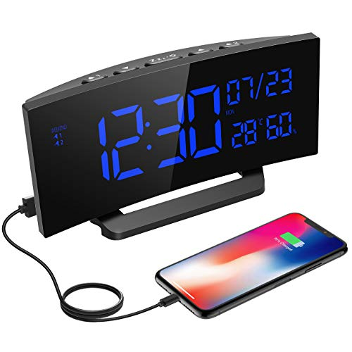 """Mpow Digitaler Wecker, Digitaluhr mit Temperaturanzeige, Hygrometer, 6.5\"""" LED Alarm Clock, Dual-Alarm, 3 veränderbare Klingeltöne, 6 Helligkeit, Reisewecker, Tischuhr mit Kalender, Wochenende Modus."""