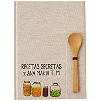 Recetario en blanco personalizado con tu nombre 15x21 | Libro de recetas de cocina para escribir tapa dura A5 | Índice y cucharita bambú | Español català euskera galego inglés | Artesanal y local