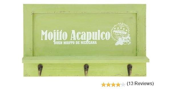 /Appendiabiti con 3/Ganci/ /da Tavolo con ripiano portaoggetti/ /Appendiabiti /Portachiavi e Cellulare della mensola/ quantio Nostalgico Legno Portachiavi da Parete/