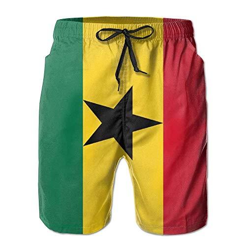 Cherokee Floral Uniform (cleaer Ghana Flag Printed Men's Summer Beaches Short Casual Board Shorts Swimwear Swim Trunks Large)