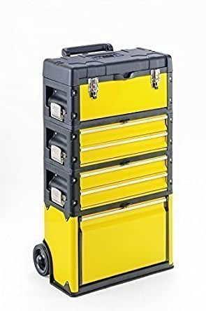Kunststoff/Metall Trolley 4 Module - 2 x 2 Schubladen - 6 Fächer -gelb