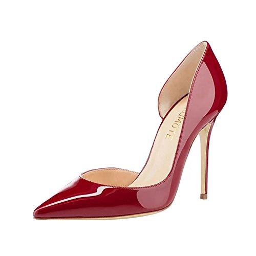MERUMOTE , Chaussures à talon fin femme Burgund-lackleder