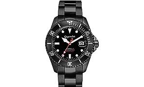Gigandet Montre pour Homme Automatique Sea Ground Limited Edition Montre de plongée analogique Bracelet en Acier Noir G2–006
