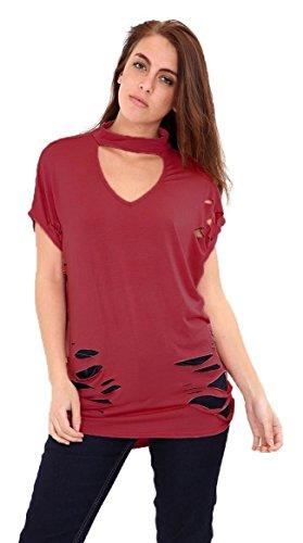 Damen Ärmellos Choker V-Ausschnitt Distressed Ripped Baggy T-Shirt Top EUR Größe 36-54 Wein