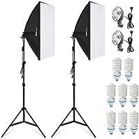 Amzdeal Softbox Kit Fotografía con 8 Bombillas 135W , 2 softboxes, 2 trípodes, Kit de Iluminación Profesional para Estudio Fotográfico, Luz Sufieciente