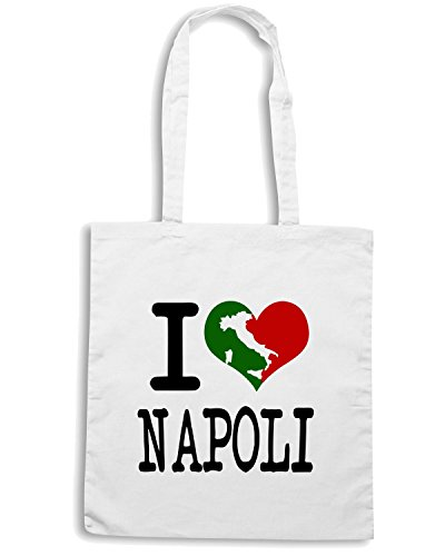 T-Shirtshock - Borsa Shopping TLOVE0061 i love napoli italian light Bianco