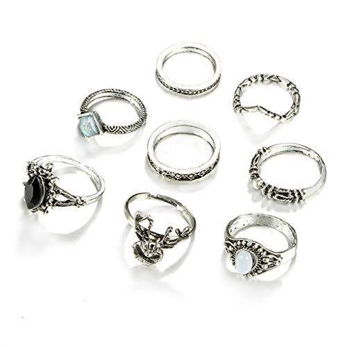 al Deer Head Geometry Eight-Stück Metal Ring Dekorative Schmuck-Set Ring Plating Simple Fashion Ideen ()