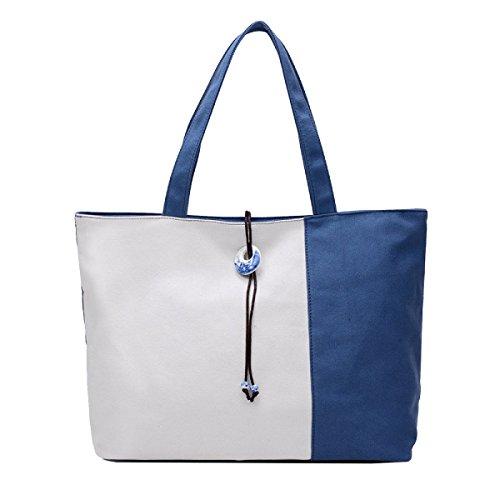 Yy.f Borsa Letteraria Di Tela Borsa A Tracolla Studente Laptop Bag Retrò Cuciture Di Colore Di Scontro Selvaggio Borse Semplici Sacchetti Multicolori Blue