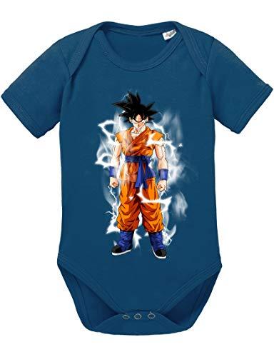 Goku Blitz Baby Dragon Son Ball Strampler Bio Baumwolle Body Jungen & Mädchen 0-12 Monate, Größe:62/2-3 Monate, Farbe:Dunkel Blau