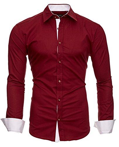 Kayhan Herren Hemd, TwoFace Bordeaux XL