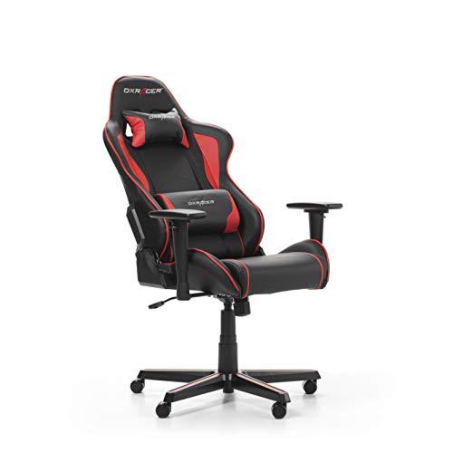 DXRacer (l'original) Formula F08 Chaise de Gaming Ergonomique en Similicuir pour PC/PS4/XBOX One, Cuir synthétique, Noir/Rouge, 67 x 67 x 128 cm