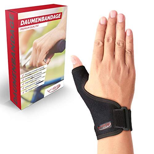 Vigo Sports universelle Daumenbandage für rechts & links - atmungsaktive Daumenschiene ohne Schweiß & Gerüche - Daumenorthese für Daumenschutz - Daumen Bandage für Daumensattelgelenk - Daumenstütze