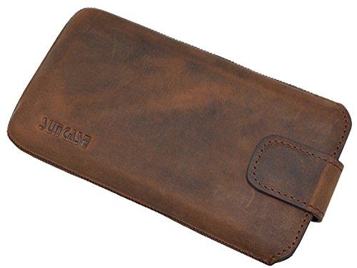 Original Suncase Etui Tasche für iPhone 8 PLUS | iPhone 7 PLUS mit ZUSÄTZLICHER Hülle / Schale / Bumper *Lasche mit Rückzugfunktion* Handytasche Ledertasche Schutzhülle Case Hülle in schwarz antik-coffee