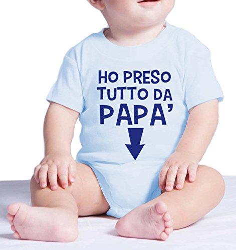 Body neonato divertente HO PRESO TUTTO DA PAPA' - pagliaccetto umoristico 100% cotone JHK_Fermento Italia (3 MESI Neonato, Celeste)