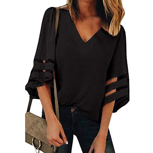 Lucky mall Weibliche Glockenhülse mit V-Ausschnitt, Frauen V-Ausschnitt Tops, Kurzarm-Sweatshirt Mode Pullover Bluse