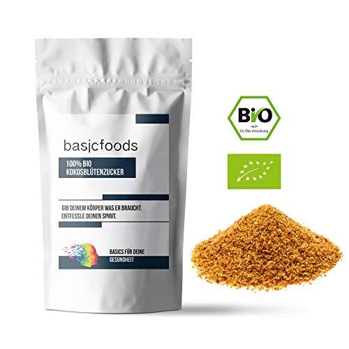 Basicfoods Bio Kokosblütenzucker 500g 100% Kokos Zucker aus fairem Handel - Niedriger glykämischer Ideal für Diabetiker 0,5kg