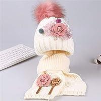 ETMAAA Große Blume Kind Schal Hut Set Mädchen Winter warme Kind Stricken