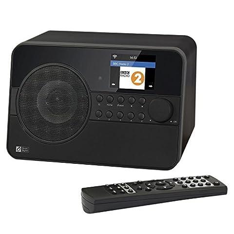 Ocean Digital Wi-Fi Internet Radio WR238 Récepteur Bluetooth avec réveil Minuterie de mise en veille Lecteur de musique flux- Noir
