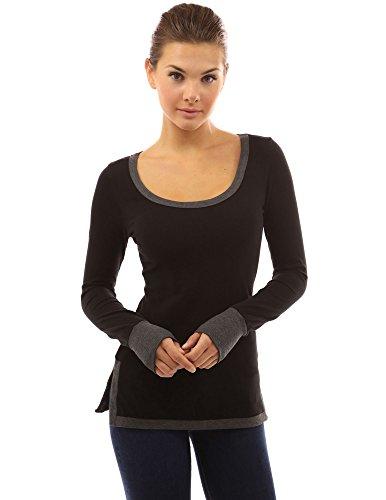 PattyBoutik Damen Farblock U-Ausschnitt Tunika mit Schlitz an Seiten und Langen Ärmeln (Schwarz und Grau M 40)