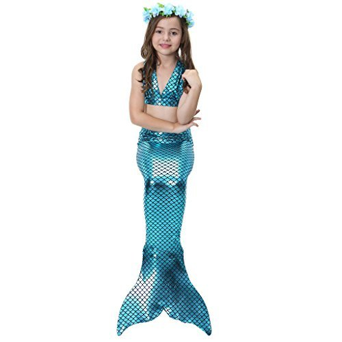 Alxcio Mädchen Meerjungfrauen Bikini Tankini Kostüm Meerjungfrauenschwanz zum Schwimmen Meerjungfrau Meerjungfrauenschwanz + Schwanzflosse + Niedlich (Anzug Meerjungfrau)