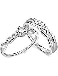 Peora Silver Plated Classic Solitaire Adjustable Couple Rings for Lovers Promise Engagement Band Valentine Jewellery Gift Sets for Men and Women