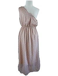 Unique boutique-longs, schulterfreies robe rose/blanc taille 34/36/38 robe asymétrique d'épaule ros'à pois blancs