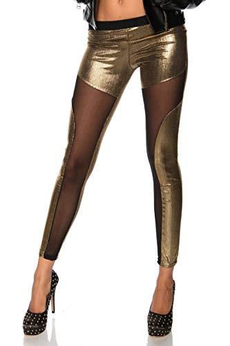 Ducomi ZOE Leggings Metalizzati Donna - Effetto Lucido con Trasparenze Sexy - Modello Slim con Finiture Laminate per un Effetto Eccentrico di Grande Tendenza - Occasioni e Serate Esplosive (Gold, S/M)