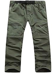QHGstore Pantalones cortos rápidos para hombre de los hombres Pantalones cortos desmontables para la escalada de senderismo verde XL
