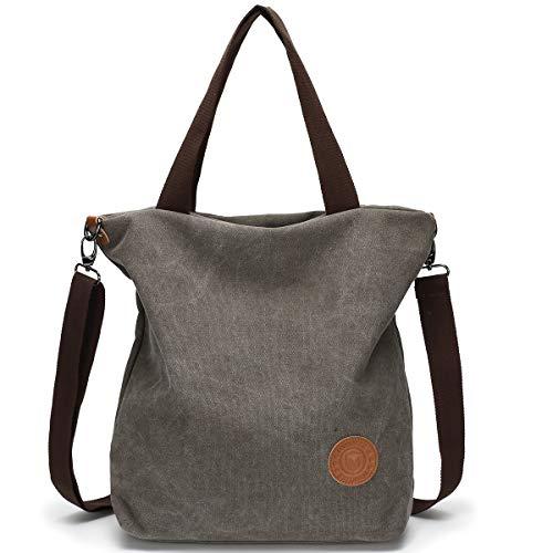 JANSBEN Damen Canvas Handtasche Schultertasche Casual Multifunktionale Umhängetaschen Große für Arbeit Schule Shopper Lässige täglich (Grau)