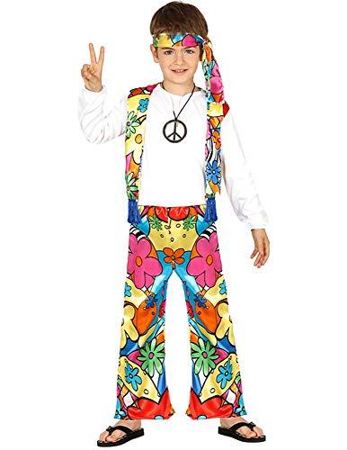shoperama Kinder Hippie Kostüm für Jungen und Mädchen Top Weste Schlaghose Stirnband 60er 70er Jahre Flower Power Woodstock, Größe:3 bis 4 Jahre