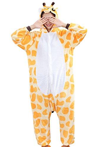 HONFONF Giraffe Unisex Erwachsene Jumpsuit Onesies Anime Halloween Weihnachten Karneval Cosplay Kigurumi Outfit Kostüm Stück Anzüge (Molkerei Mädchen Kostüm)