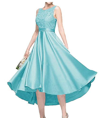 Charmant Damen Blau Kurzes Satin Abendkleider Ballkleider Abschlussballkleider A-linie mit Spitze Tuerkis