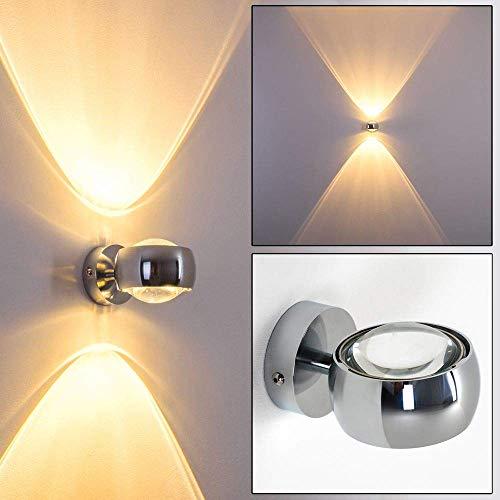 Moderne halbrunde Lampe für die Wand - verchromter Raumfluter aus Metall mit Glas-Linsen - indirektes Licht in Form von zwei Lichtkegeln - LED oder Halogen-Lampen möglich -