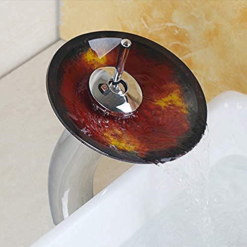 Gorheh Ausgezeichnete Qualität Aus Massivem Messing Waschbecken Mischbatterie Wasserfall Wasserhahn Waschbecken Empfänger Chrom-Finish Poliertes Glas -