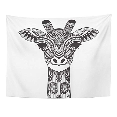 AOCCK Wandteppiche, Tapestry Wall Hanging Coloring Zentangle Giraffe Withe Face Page Doodle Line Tattoo Adult Africa 60