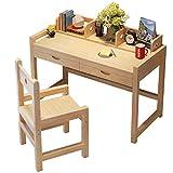 Tabelle Hölzern Kinder-Lerntisch Einstellbar Schreibtisch Student Schreibtisch mit Bücherregal Haushalt Tisch und Stuhl Set (Farbe : Varnish, größe : 100cm)