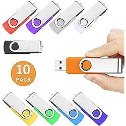Chiavetta USB 16 GB - 10 Pezzi 16GB Pen Drive - Chiavetta Pennetta Girevole USB 2.0 Unità Memoria Flash (10 Multicolore)